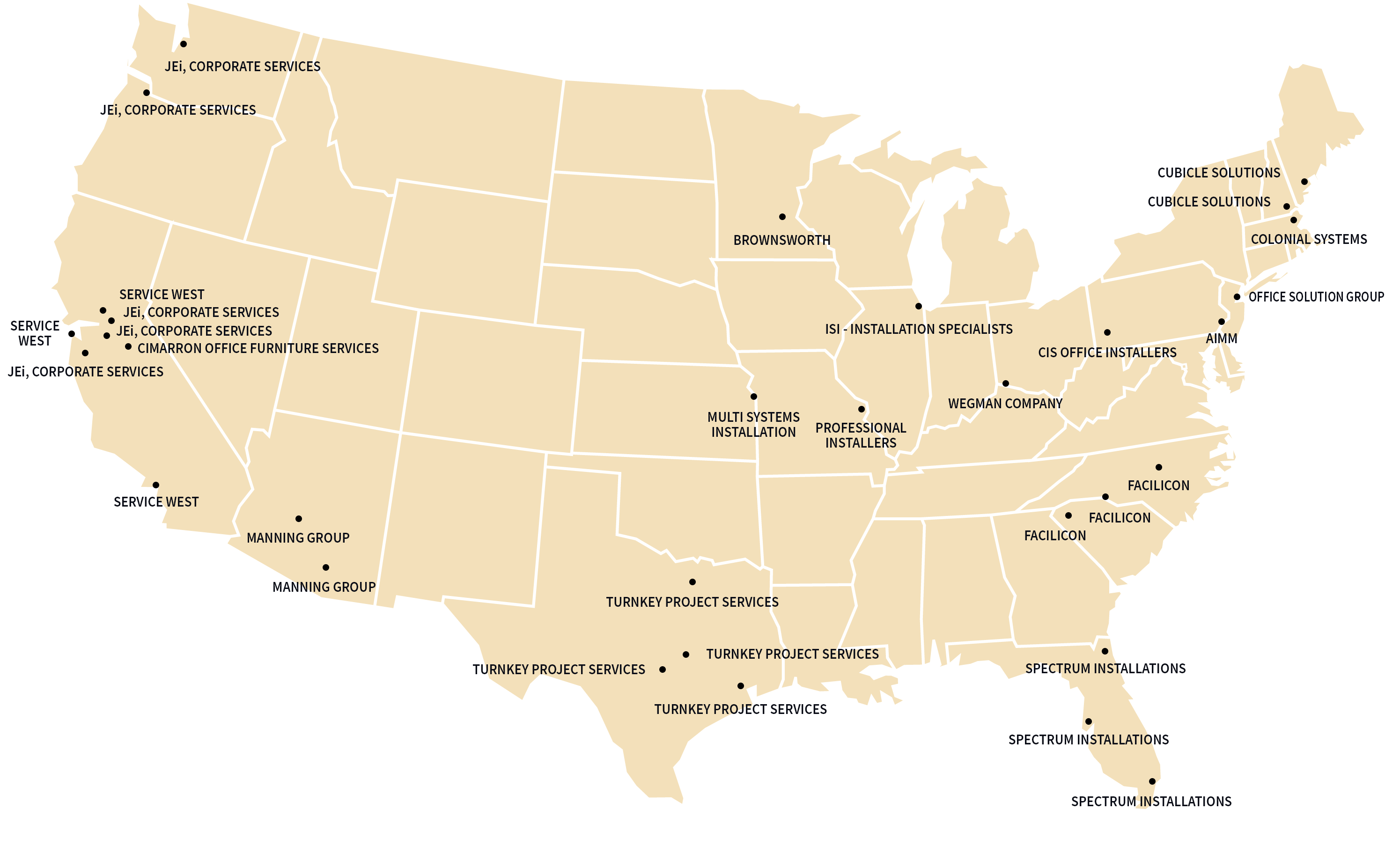 United States Map with Markers for FSN Installers